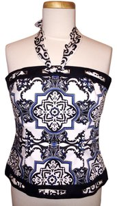White House | Black Market Bustier Halter Evening Prom Top Floral
