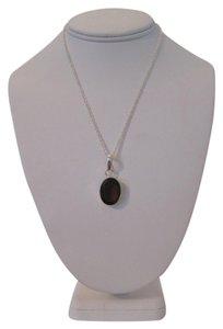 OTHER ARTISAN FACETED GARNET COLOR QUARTZ GLASS PENDANT WITH 925 SILVER PLATED NECKLACE