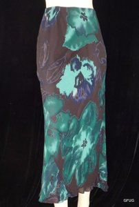 Carole Little Rayon Floral Watercolor Maxi Skirt Green and Brown
