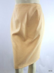 Kay Unger Ny Pink Striped Puckered Straight Pencil Stretch Skirt Yellow