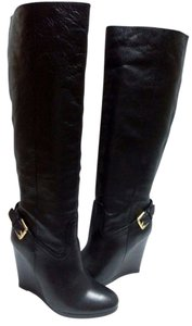 Coach Leaher Wedge Black Boots
