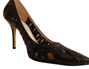 Enzo Angiolini Size 6 Black Patent Leather and Black Mesh Pumps