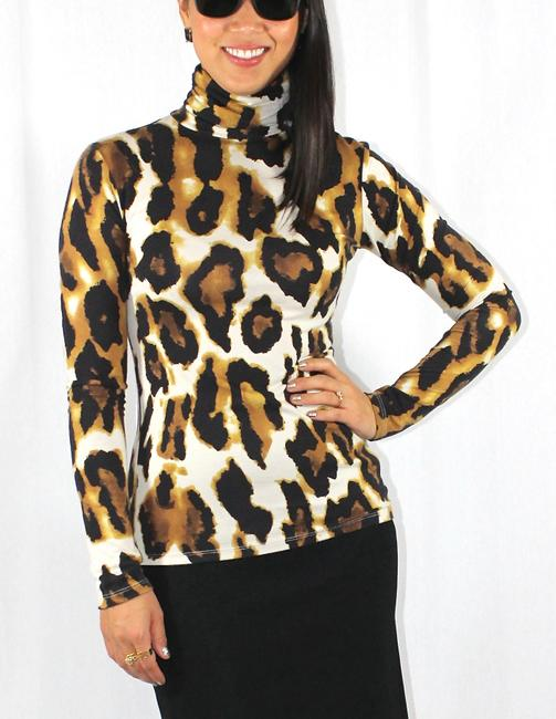 Other Animal Print Leopard Turtleneck Career Soft Top Multicolor