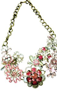 Anthropologie anthropologie bib crystal spring pink mix statement necklace jewelry new stunning array