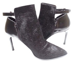 Vince Pony Hair Leather Pointed Toe Black Boots