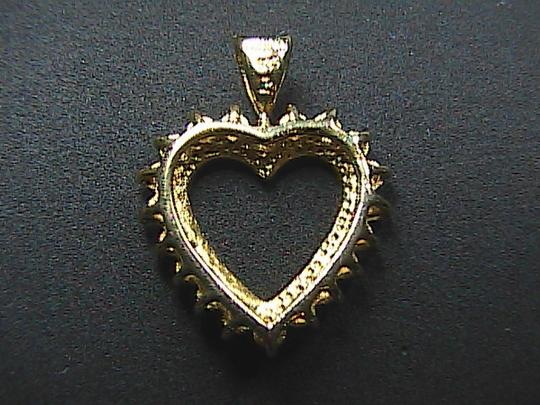 Vintage Sterling Silver Gold Tone 1 pt Diamond Heart Pendant