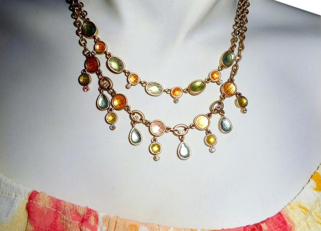 Item - Green Orange Yellow Gold Double Strand Tone with Faceted Krystal Stone Necklace