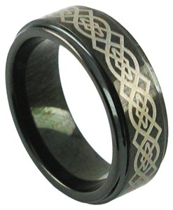 Island Silversmith Island Silversmith 8mm Black Tungsten Wedding Ring Band Gold Laser Celtic Design 2301G *FREE SHIPPING*