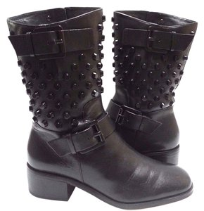 MICHAEL Michael Kors Studded Moto Leather Black Boots