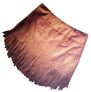 Fringe Lightweight Vegan Mini Skirt Brown
