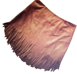 Other Fringe Vegan Suede Lightweight Mini Skirt Brown
