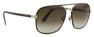 Gucci * Gucci Brown Leather Aviator Sunglasses GG1943/S