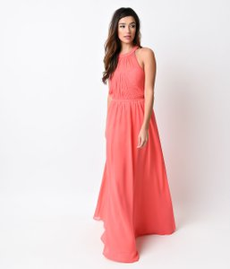 Unique Vintage Coral Coral Pink Grecian Chiffon Evening Gown Dress