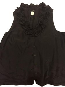 J.Crew Silk Ruffles Top Black