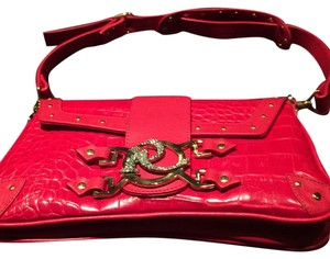 Ripani Leather Crystals Embossed Red Clutch
