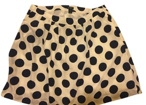 J.Crew Polka Dot Pockets A-line Skirt White and navy