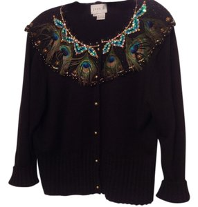 Just B Peacock Feathers Bling 3/4 Sleeve Sweater Button Down Shirt Black