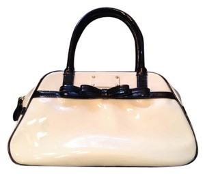 Kate Spade Patent Leather Polka Dot Lining Satchel in White and Black