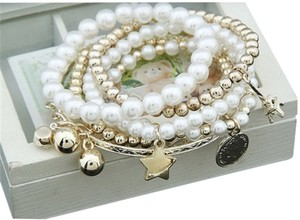 Brand New! Fashion jewelery vintage style multi layered bracelet with charms!