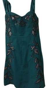 Free People Embroidered Satin Metallic Dress