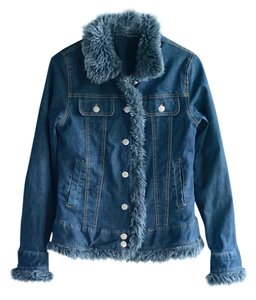 Finesse Faux Fur Winter Denim blue with grey trim Womens Jean Jacket