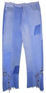 AG Adriano Goldschmied Patchwork Embroidered Hippie Skirt blue