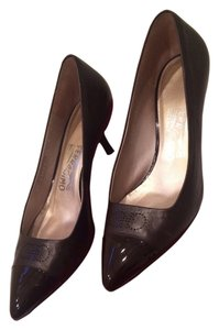 Salvatore Ferragamo Kitten Heel Leather Brown Pumps
