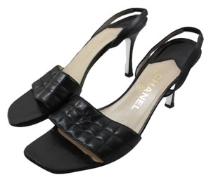 Chanel Quilted Leather Slingback Black Sandals