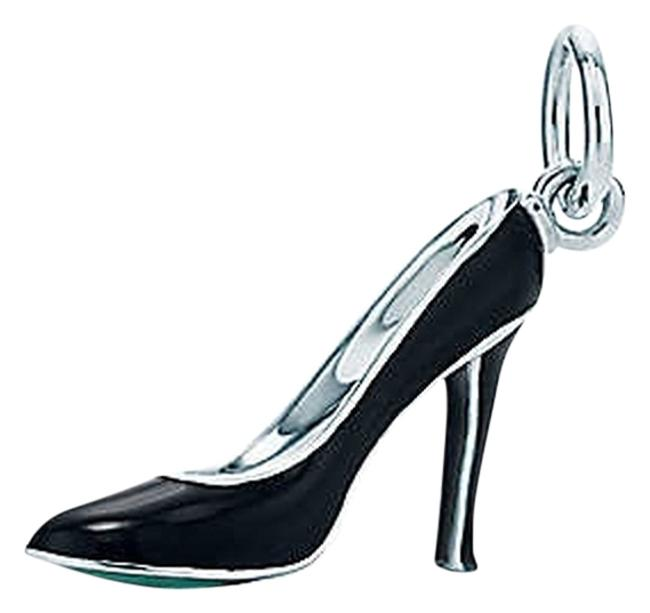 Item - Black Shoe In Sterling Silver with Enamel Finish and Blue Sole. Charm