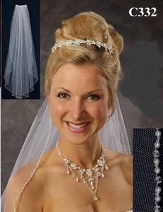 J.L. Johnson Bridals Diamond White Wedding Veil With Pearl And Crystal Beaded Edge