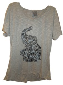 New Directions Elephant T Shirt Gray and black