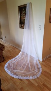 Beaded White Royal Cathedral Veil 1 Tier