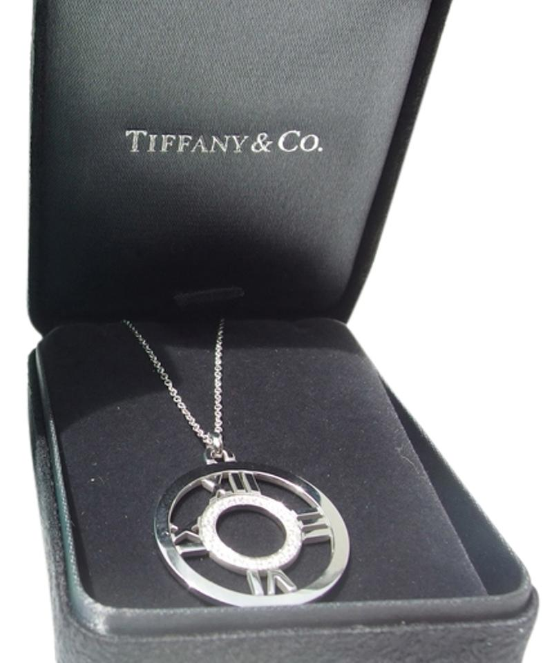 f6733fd71 Tiffany & Co. White Gold Co Atlas Large Diamond Open Medallion 18k Wg  Pendant with Boxes Necklace