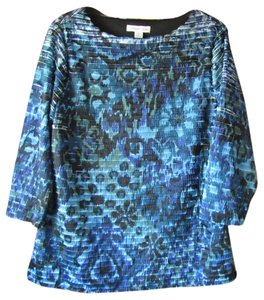 Coldwater Creek Fluttery Medium Shades Of Watercolor Print Top Blues