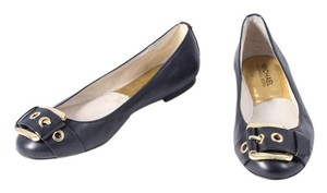 Michael Kors Gray Leather Buckle Black Flats