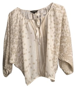 Express Hearts Top Taupe and White Patterned