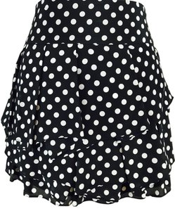 Alice + Olivia Polka Dot Tiered Micro-mini Ruffle + Mini Skirt Black / White