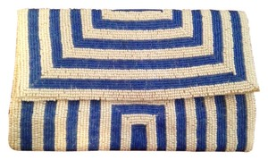 KC Malhan White and blue Clutch