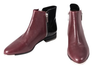 Michael Kors Two Toned Leather Ankle Black/Maroon Boots