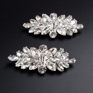 Crystal Silver Bridal Shoe Clips