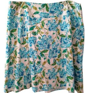 Lane Bryant Floral Skirt White with blues and greens