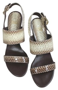Stuart Weitzman Snake Roccia (Brown and white) Sandals