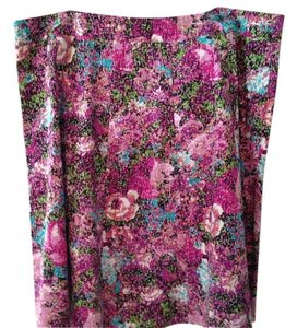 Lane Bryant Floral Skirt purple, black and white