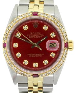 Rolex MEN'S ROLEX DATEJUST WATCH GOLD SS 2 CT DIAMONDS & RUBY GOLD BEZEL