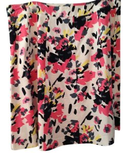 Lane Bryant Floral Coral Skirt coral, black and white