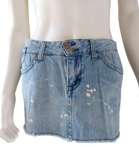 Ezekiel Frayed Fray Distressed Destroyed Micro-mini Ultra Mini Mini Skirt Blue