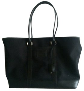 Coach Overnight Canvas Leather Tote in Black