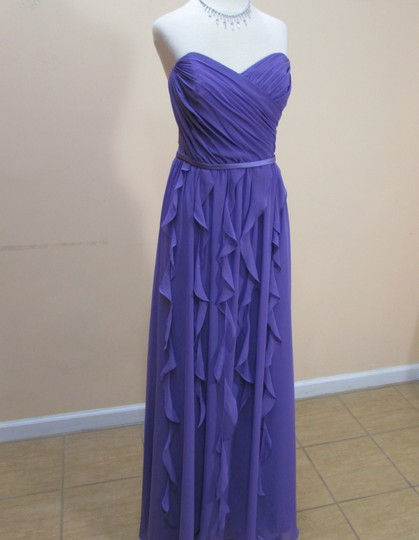 Alfred Angelo Purple Chiffon 7319l Formal Bridesmaid/Mob Dress Size 8 (M)