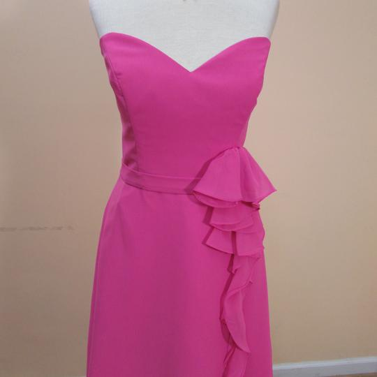 Alfred Angelo Fuchsia Chiffon 7320s Formal Bridesmaid/Mob Dress Size 6 (S)