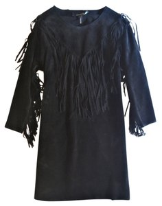 Isabel Marant short dress black Suede Mini Fringe Leather on Tradesy